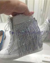 Diamond tassel women brand name sneakers high-top lace up popular women sneakers
