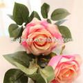 big 3 cabeças de flor rosa artificial para decoração de interiores