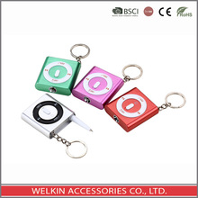 Ipod shuffle shape keychain with ballpen and LED light