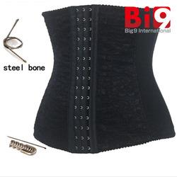 Cheap Sexy lace waist training cincher corset underbust corset steel cincher bustiers for women steel boned short corset