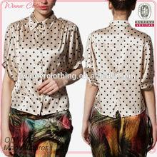 OEM garment factory direct middle sleeve peter pan collar polka dot print elegant blouses design