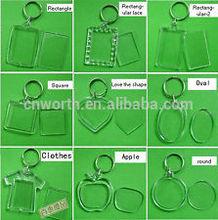 Clear High Quality Blank Acrylic Keyrings, opened acrylic plastic key chain blank keyring