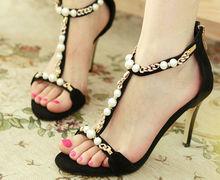 woman sandal rhinestone pearls high heel shoes women black lace high heel shoes