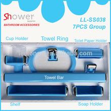Yuyao Manufacturer Quick Delivery Multi-Color Morocco Hotsale Design Blue Color 7pcs Plastic Bathroom Accessories