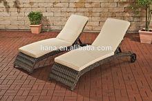 Round rattan Beach lounge chair with wheels royal patio garden furniture