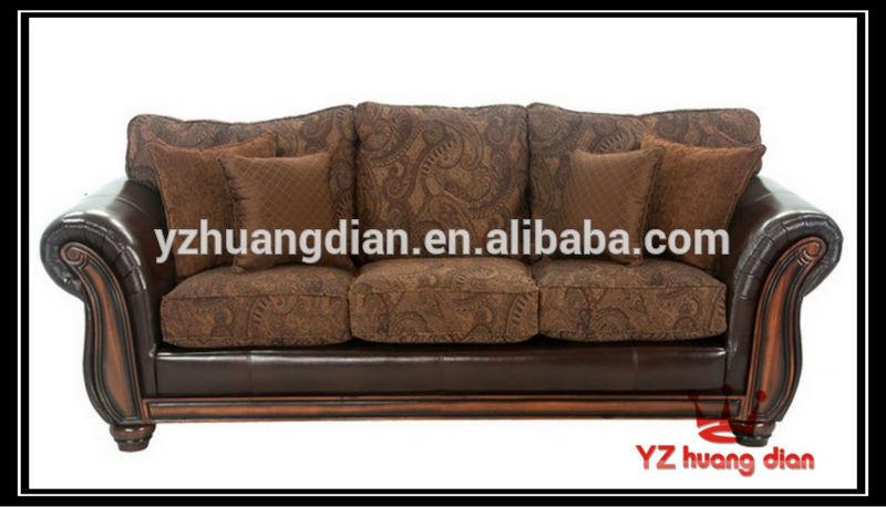 Antique China Sofa Leather Fabric Combination Sofa Wood