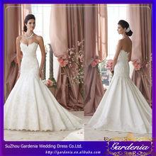 A-line Strapless Open Back Lace Applique White COlor Court Train Wedding Dress Ornaments
