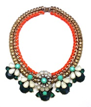 2014 New High Quality Colour Flower Necklaces & Europe and the United States decorations, fashion Vintage Crystal Necklace