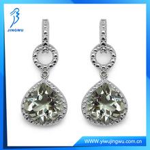 Green Amethyst & Diamond 925 Sterling Silver Earring