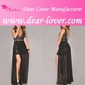 moda cap luva mergulhando pescoço longo vestido preto de renda