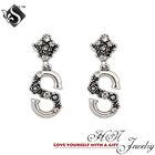 2014 Rhodium Silver Plated Vintage Rosery Earing S Letter Shape Danging Earring Models Jewelry CZ Crystal Korean Earrings
