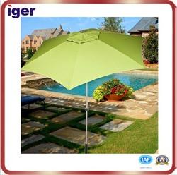 High quality 8.5'*8k aluminum shaft fiberglass rib with tilt 140G polyester hexagonal garden umbrella