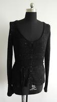 Ladies black sequins yarn knit cardigan sweater factory