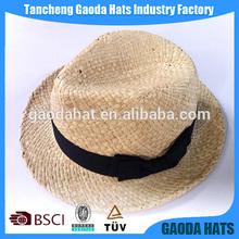 Plain straw fedora hat for farmer