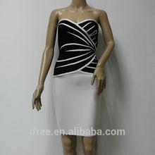 Strapless sexy dress black and white slim bandage dresses celebrity