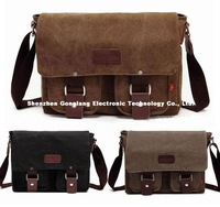 Men's Vintage Canvas Leather Schoolbag Military Shoulder Crossbody Messenger Bag