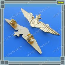 custom logo gold plating wholesale cheap custom metal wing pilot metal badge