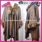 New style winter big acrylic knitting kashmir pashmina shawls with fur collar