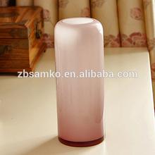Wholesale cylinder shape hand blown light purple glass vase