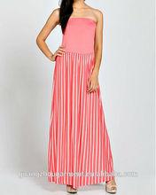 OEM New Colourful Stripe Knit Summer Women Chevron Maxi Dress china wholesale