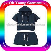 Wholesale summer short sleeve women hoodies sets plain hoody set Wholesale summer short sleeve children hoodies girl summer set