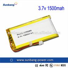 Sunb325085 genuine capacity li-polymer battery 3.7v 1500mah