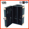 Double bottle 5mm mdf dark green faux leather wine carrier boxes manufacture