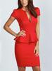 Cap sleeve peplum slit front curvy red evening dress sexy