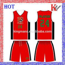 100% de poliéster de moda diseño baratos conjunto uniforme de baloncesto