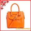 orange color European Trend fashion leather hand bag with long shoulder strip
