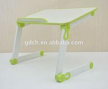 Hot sale high quality adjustable folding laptop desk (water proof desktop, plastic joint,two foldable legs)