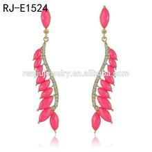 red crystal chandelier leaves tassel earrings,funny earring converters