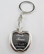 new arrival apple shaped photo frame metal key chain
