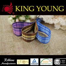 Purple Tartan Plaid Ribbon/ Wired Ribon/ Woven Ribbon