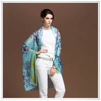 custom digital printing 100% silk ,customized Shawl / pashmina
