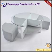 new design high quality round glass teapoy tea table design