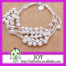 Hot Sale Silver Multi frosted/Scrub/ dull polish Beads Pendant Bracelet_Fashion Korean Style Five lines Silver Bracelet,