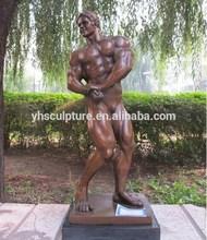 folk art life size bronze nude man sculptures