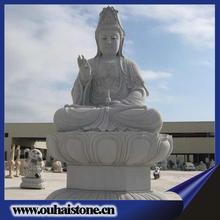 A buddism godness Guanyin best carving crafts white granite stone buddha statue