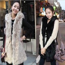 Hfr-t644 2014 autunno inverno donne moda imitazione di pelliccia di coniglio con cappuccio con un cappotto di pelliccia maglia gilet lungo