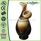 "28"" Three Bottle Ceramic Finish Outdoor Modern Water Fountain"