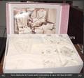 Alta qualidade 100% algodão robe bordado& toalhas gift set