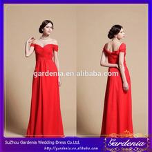 2014 New Arrival Flowing A-line Sweetheart Zipper Back Floor Length Chiffon Off Shoulder Red Chiffon Long Evening Dresses(ED067)