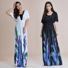 HFRFN6 printed beach plus size long woman dress fashion 2014