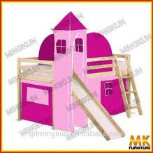 wooden pink loft bed for kids