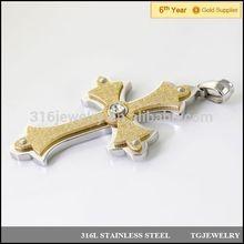 custom 2 tones stainless steel cross pendant with emery and diamond (DZ-120)