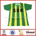 2014การออกแบบใหม่สีเหลืองและสีเขียวลายเสื้อฟุตบอลฟุตบอลt- shirt