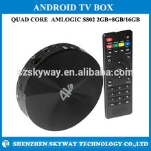 S82 4K Android TV Box Amlogic S802 Quad Core Google Android 4.4 2GB 8GB Bluetooth Remote Control RJ45