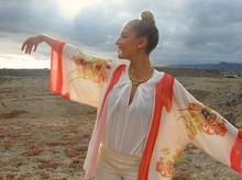 Vintage 3/4 sleeve Women Boho Hippie Loose Style Kimono Coat Cape Blazer Jacket S M L size