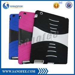 Hybrid case for ipad, Plastic Silicone hard case for iPad